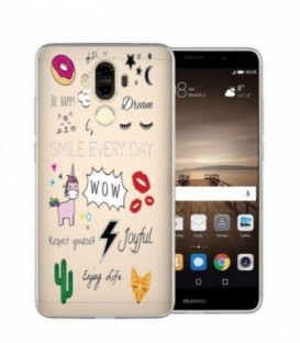 Coque Mate 9 tatoo girl positive wow licorne cactus
