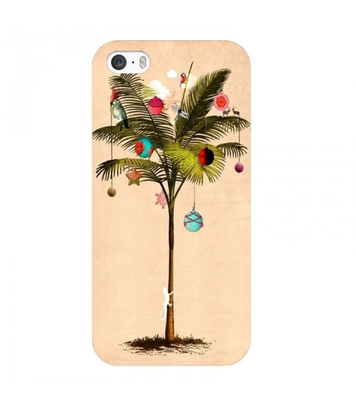 coque iphone 5 5s se noel tropical palmier sapin