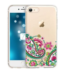Coque Iphone 7 PLUS iphone 8 PLUS fleur paisley mandala doodling transparente