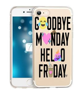 Coque Iphone 7 PLUS iphone 8 PLUS Monday Friday emojii smiley transparente