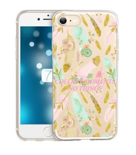 Coque Iphone 7 PLUS iphone 8 PLUS plumes boho chic fleur rose dore or pastel transparente