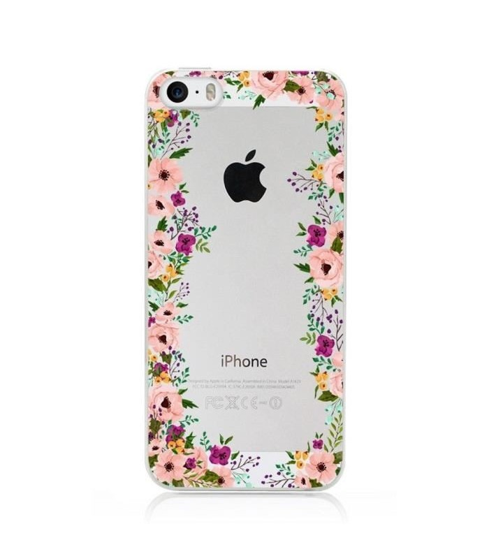 coque transparente gel iphone 5 5s se fleur 14 liberty shabby chic rose coque4phone. Black Bedroom Furniture Sets. Home Design Ideas