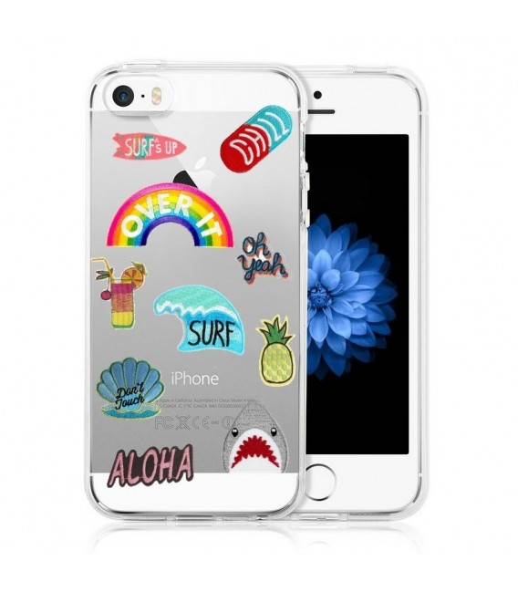 Coque Iphone 5 5S SE Patch beach summer chill aloha surf ananas ...