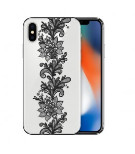 Coque Iphone X dentelle girly lace doodling tatoo noir transparente