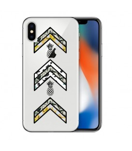 Coque Iphone X army ananas marbre chevron transparente