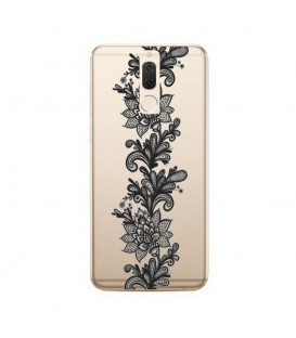Coque MATE 10 LITE dentelle girly lace doodling tatoo noir transparente