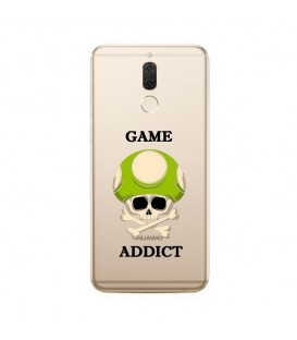 Coque MATE 10 LITE game over addict tete de mort vert skull geek retro transparente