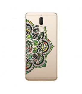 Coque MATE 10 LITE Mandala vert jungle tropical doodling transparente