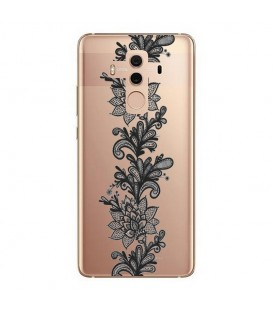 Coque MATE 10 PRO dentelle girly lace doodling tatoo noir transparente
