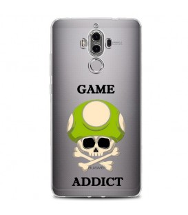 Coque MATE 10 PRO game over addict tete de mort vert skull geek retro transparente