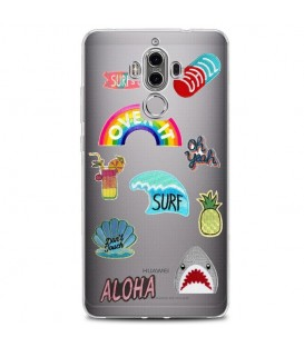 Coque MATE 10 PRO Patch beach summer chill aloha surf ananas chill tropical transparente