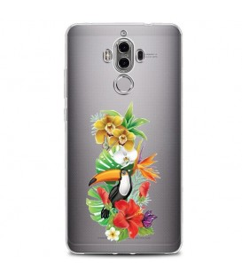 Coque MATE 10 PRO perroquet fleur tropical exotique transparent