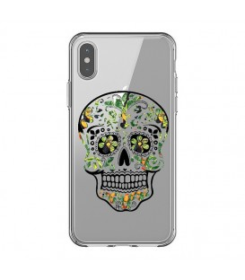 Coque Iphone X et XS mort mexicaine jungle calavera vert tropical