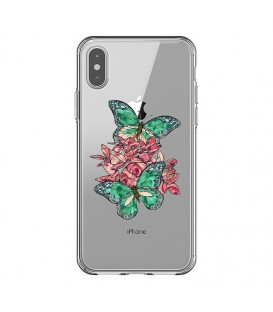 Coque Iphone X et XS papillon emeraude rose fleur