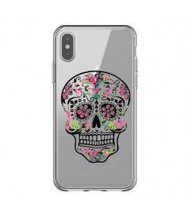 Coque Iphone XS MAX mort mexicaine fleur aztec rose calavera