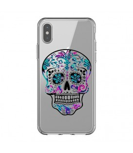 Coque Iphone XS MAX mort mexicaine rose bleu calavera