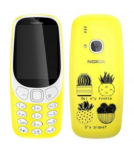 Coque Nokia 3310 cactus noir tropical exotique quotes
