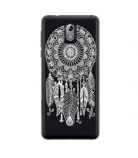 Coque Nokia 3.1 2018 dreamcatcher blanc plume attrape reves