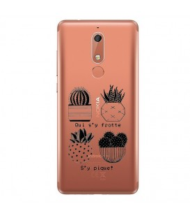 Coque Nokia 5.1 2018 cactus noir tropical exotique quotes