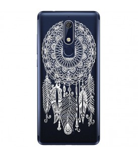 Coque Nokia 5.1 2018 dreamcatcher blanc plume attrape reves