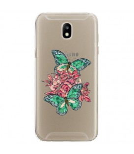 Coque Galaxy J3 2017 papillon emeraude rose fleur