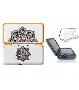 Coque NEW 2DS XL Mandala fleur aztec rose transparente