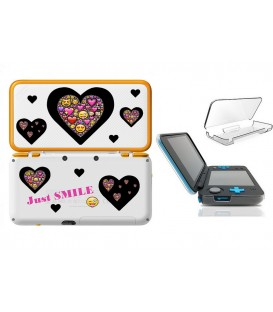 Coque NEW 2DS XL Smiley coeur emojii noir jaune transparente
