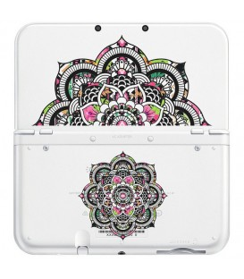 Coque NEW 3DS XL Mandala fleur aztec rose transparente