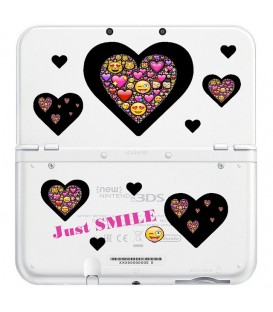 Coque NEW 3DS XL Smiley coeur emojii noir jaune transparente