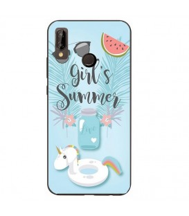 Coque Honor 8X Summer licorne girl beach tropical