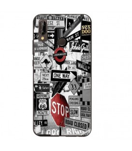 Coque Honor 8X underground route 66 street urban noir blanc rouge