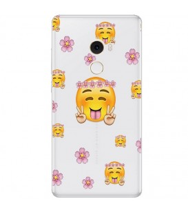 Coque MI MIX 2 Smiley peace and love fleur emojii emoticone transparente