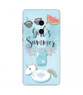 Coque MI MIX 2 Summer licorne girl beach tropical