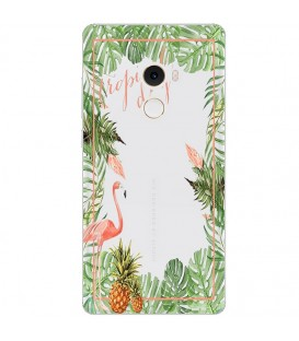 Coque MI MIX 2 Tropical day Flamant Ananas summer Exotique fleur