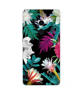 Coque MI MIX 2 tropical Noir Fleur violet rose