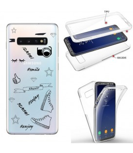 Coque Galaxy S10 integrale flash BFF emojii noir transparente