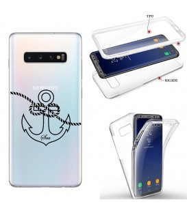 Coque Galaxy S10 integrale ancre noir transparente