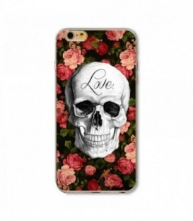 Coque Iphone 6 6S tete mort fleur love liberty skull