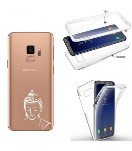 Coque Galaxy S9 PLUS integrale bouddha blanc transparente