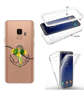 Coque Galaxy S9 PLUS integrale ancre blanc transparente