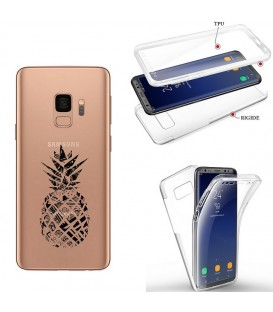 Coque Galaxy S9 PLUS integrale ananas geometrique noir transparente