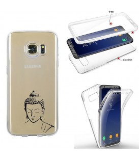 Coque Galaxy S7 EDGE integrale bouddha noir transparente