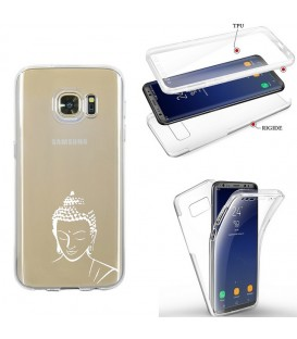 Coque Galaxy S7 EDGE integrale bouddha blanc transparente
