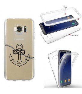 Coque Galaxy S7 EDGE integrale ancre noir transparente