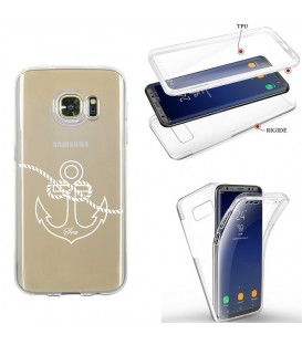 Coque Galaxy S7 EDGE integrale ancre blanc transparente
