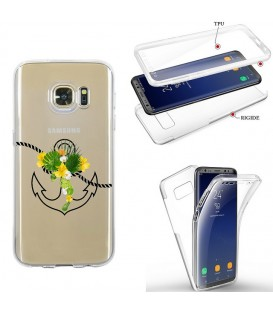 Coque Galaxy S7 EDGE integrale ancre fleur tropical transparente
