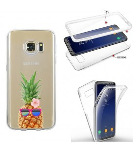 Coque Galaxy S7 EDGE integrale ananas lunettes tropical fleur transparente