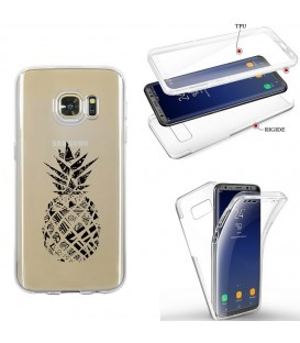 Coque Galaxy S7 EDGE integrale ananas geometrique noir transparente