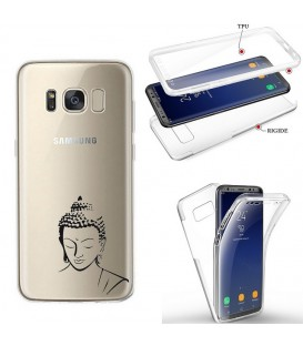 Coque Galaxy S8 PLUS integrale bouddha noir transparente