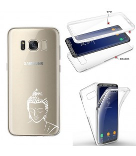 Coque Galaxy S8 PLUS integrale bouddha blanc transparente